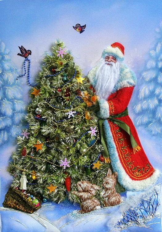 Новогодние картинки елки и деда мороза для детей